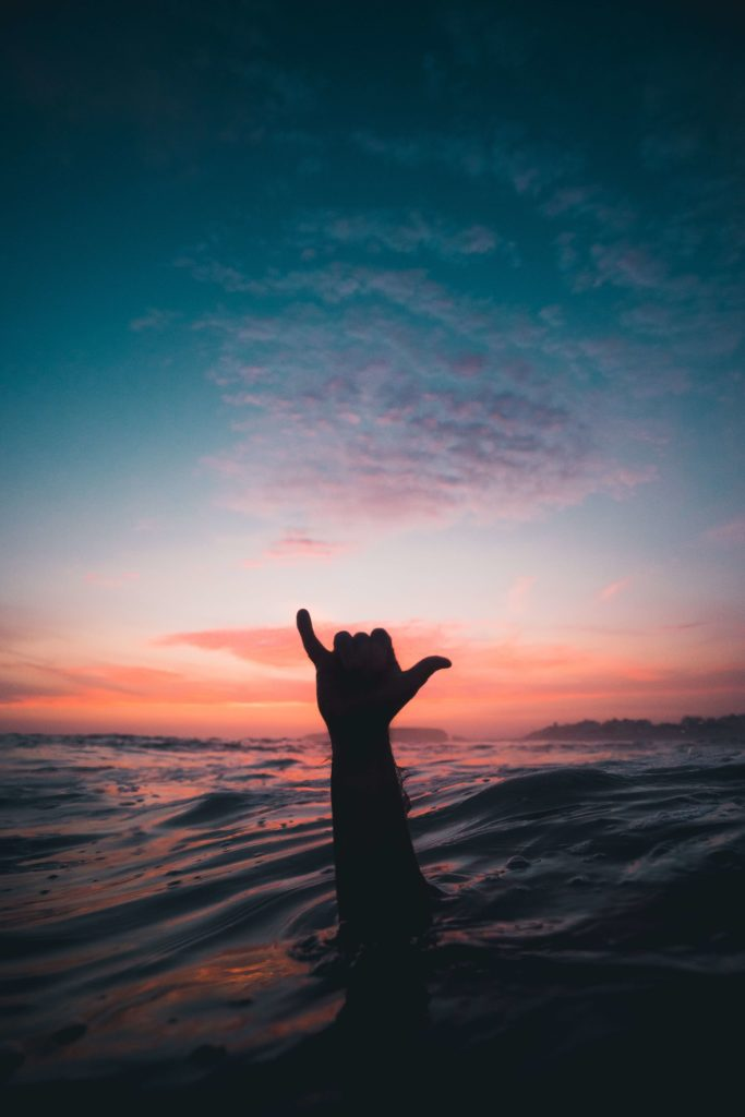silhouette of hand emerging from water in front of sunset