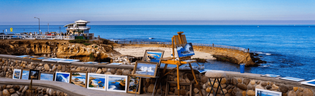 paintings along walkway in la jolla california