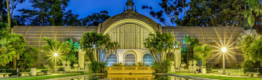botanical gardens of balboa park at night