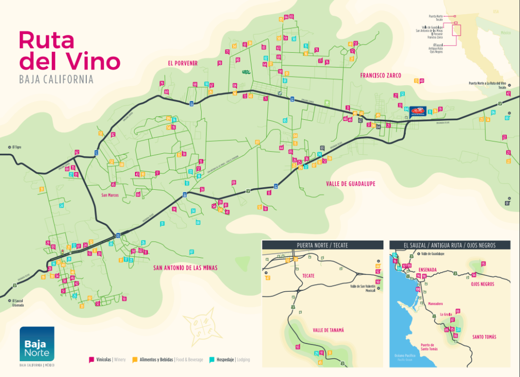 map of mexico wine country