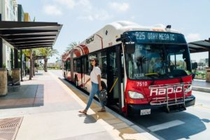 woman leaves BRT 225 chula vista bus