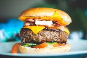 closeup of cheeseburger